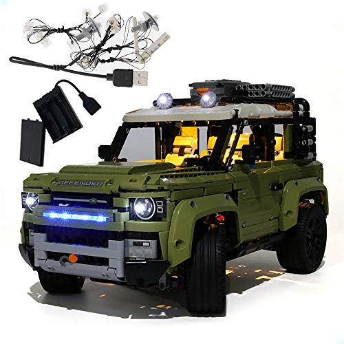 GEAMENT LED Light Kit for Technic Land Rover Defender - Compatible with Lego 42110 Building Blocks Model (Lego Set Not Included) (with Instruction)