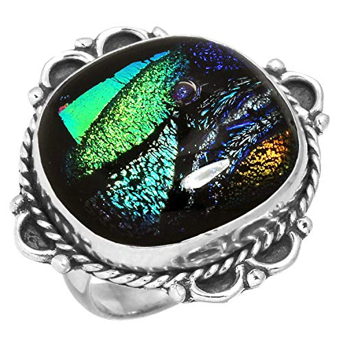 Natural Dichroic Glass Handcrafted Jewelry Solid 925 Sterling Silver Ring Size 5