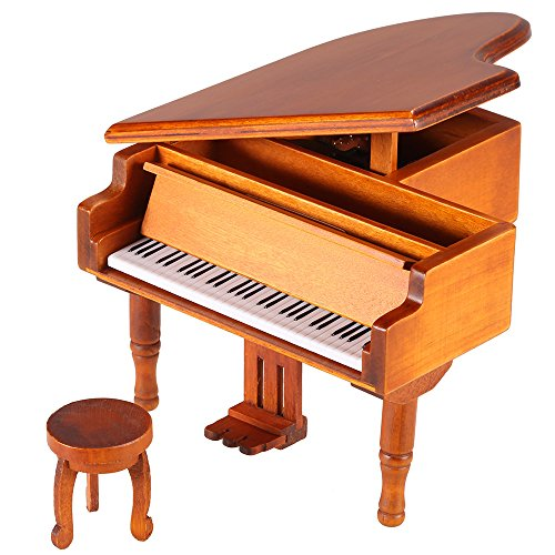 ammoon Windup Wooden Piano Music Box for Children Girls