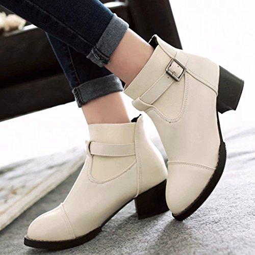 Aiyoumei Kvinna Chunky Klack Bootie Blockera Moderna Boots Med Spänne Beige