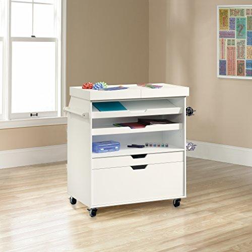 Sauder 417047 Craft Cart White Craft Organizer Gift Wrapping Cart (Large Image)