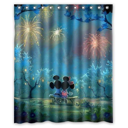 ARTSWOW Custom Waterproof Polyester Fabric Disney Cartoon Mickey Mouse Art Shower Curtain Standard Size 60x72 ZIQQ-curtain