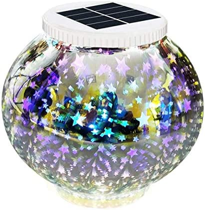 Solar Powered Mosaic Glass Garden Light, Color Changing Glass LED Rechargeable Night Lamp Waterproof Solar Outdoor Lights for Home,Yard,Patio,Christmas Party Decorations 3D Star