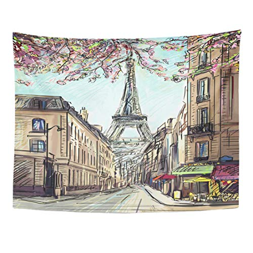 Wall Cosmopolitan Maps (Emvency Tapestry 60 x 50 Inches Drawing Street in Paris Architecture Black Built City Cityscape Construction Cosmopolitan Wall Hanging Art Home Decor Tapestries for Bedroom Dorm Living Room)