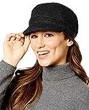August Hat Women's Boucle Bias Cut Mod Squad Cap, Black