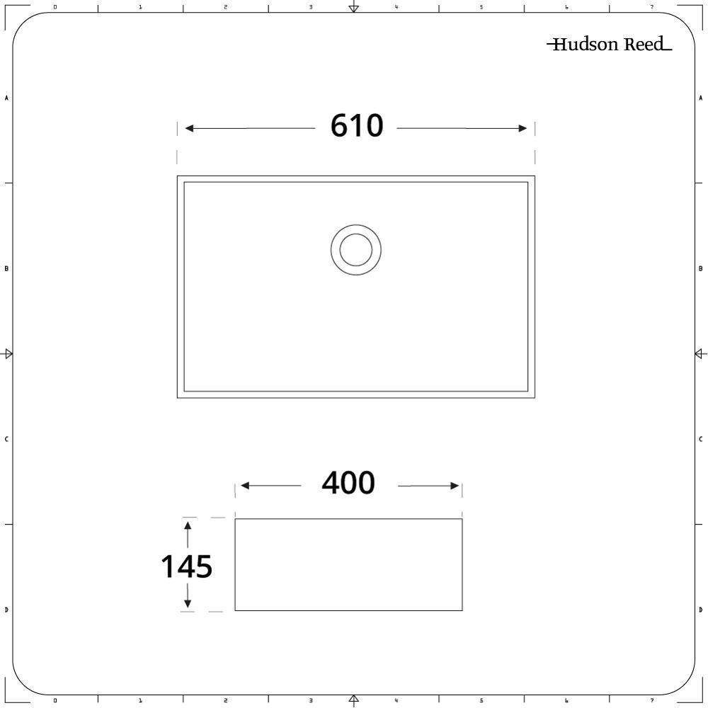Hudson Reed Vasque Rectangulaire /à Poser 60 X 39 CM Gamme Haldon