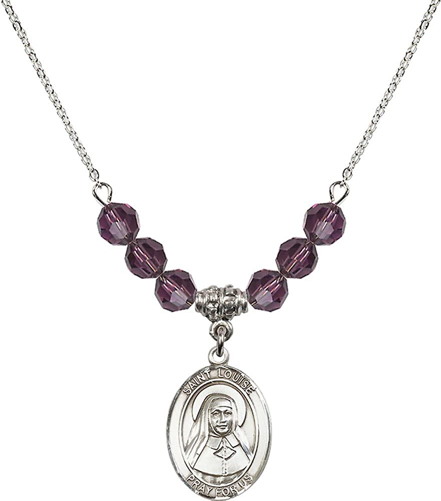 18-Inch Rhodium Plated Necklace with 6mm Amethyst Birthstone Beads and Sterling Silver Saint Kateri Tekakwitha Charm.