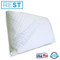 Blended Memory Foam Pillow With Super Soft Rayon Covers Derived From Bamboo, By REST. Made In The USA! (QUEEN SIZE)