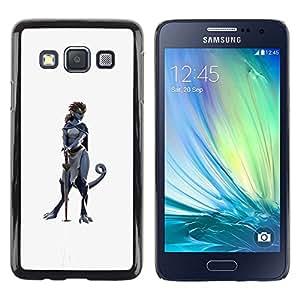 Be Good Phone Accessory // Dura Cáscara cubierta Protectora Caso Carcasa Funda de Protección para Samsung Galaxy A3 SM-A300 // sword hero woman character cat grey