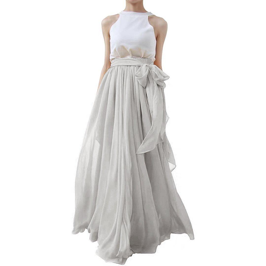 Lanierwedding Summer Beach Chiffon Long High Waist Maxi Skirt with Belt for Wedding 2017 Grey Size S