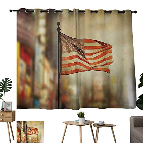 Long Curtains United States,American Flag Waving in City