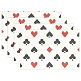 Ethel Ernest Poker Hearts And Clubs Pattern Heat-resistant Placemats, Polyester Tablemat Place Mat for Kitchen Dining Room Set of 6