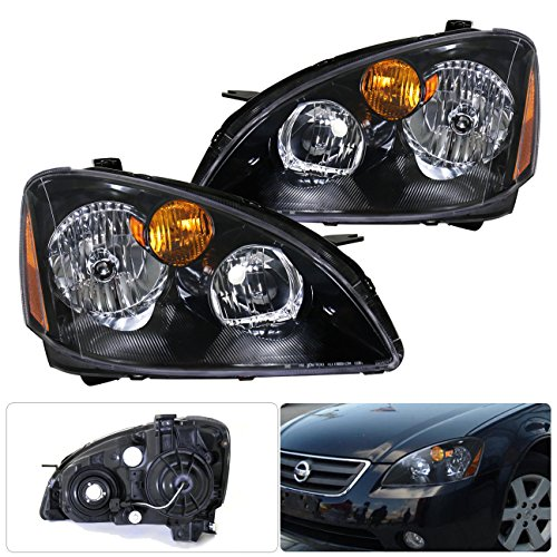 For Nissan Altima Black Housing Clear Lens Amber Reflectors Headlight Head Light Lamp Upgrade Replacement Set