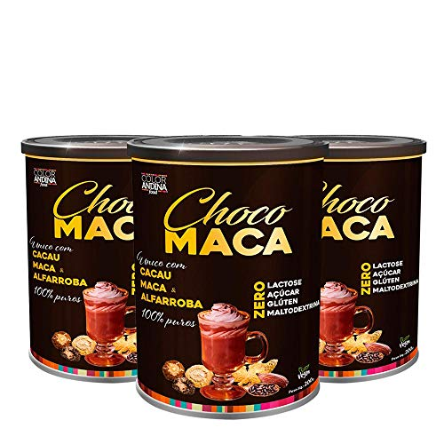 Achocolatado de Maca Peruana Chocomaca Color Andina Food, 3 potes de 200g, Pré-Treino Energético Proteico