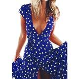 Women Maxi Dress,Boho Dot Print Skirt Deep V Beach Evening Party Sundress Axchongery (Blue, S)