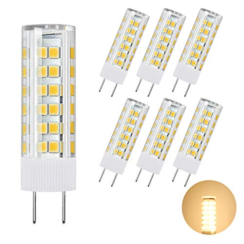 DiCUNO G8 LED Bulb, Dimmable 6W Warm White 3000K, 120V Xenon 60w Halogen Replacement, Under Cabinet Counter Light, 6Pcs, Note: Must Check Size Before Purchase(See Picture 2 & 3)