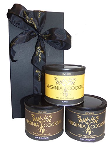 Gourmet Fine Virginia Cocktail Peanuts Gift Box - 3 Pack of 10 Ounce Tins (Dark Chocolate, Milk Chocolate, and Toffee)