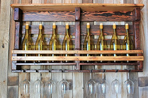 Rundown Rustics Wine Rack Storage Shelf Organizer Display Décor Organizer Cubby Rustic Reclaimed Recycled Upcycled Pallet Barn Wood Bar 8 Bottles Glasses Upright Wall - Blonde Beer French