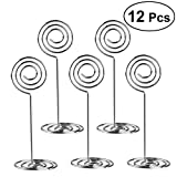 NUOLUX Table Number Card Holder - 12 Pack Wire Photo Holder Stands Wedding Party Favor Paper Menu Clips (Silver)