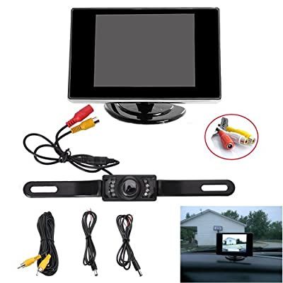 "AGPtek® Waterproof Vehicle Car Rear View Backup License Plate Camera with Night Vision + 3.5"" TFT LCD Monitor Screen(Not fit for Truck , Cargo Van and Long Vehicle)"