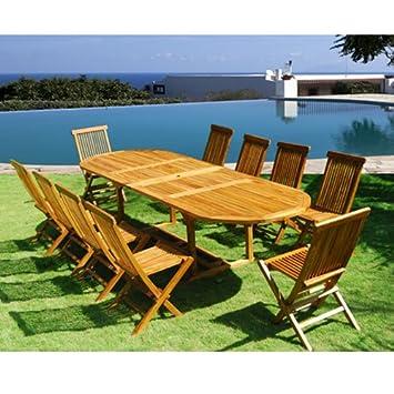 Salon de jardin en bois de teck huilé 10/12 personnes - Table ovale ...