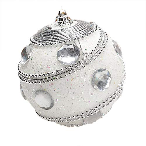Christmas Ball Ornaments Decoration Christmas Rhinestone Glitter Baubles Balls Xmas Tree Ornament Decoration Holiday Wedding Party Decoration (8cm in Diameter) (White) by TLT Retail (Image #3)