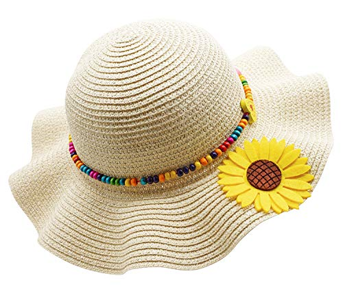 - Kids Girls Multi-Colors Large Brim Flower Beach Sun Hats,BeigeYellow