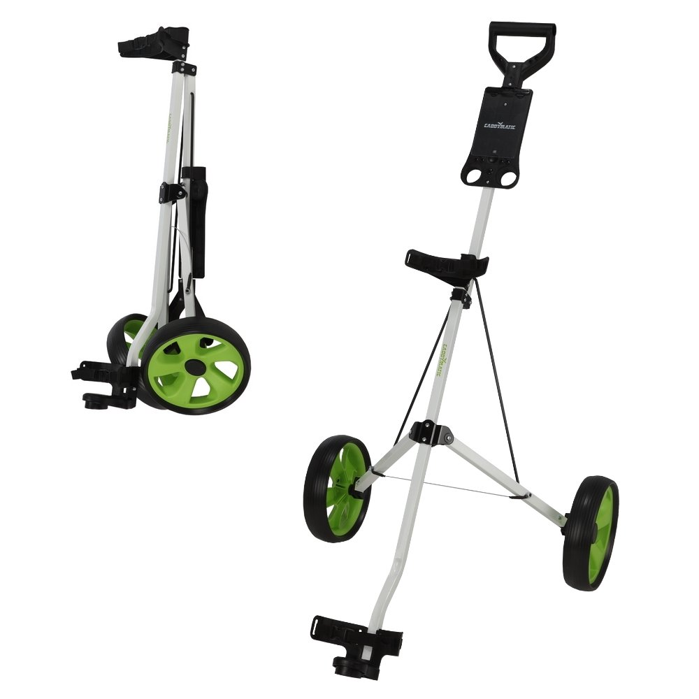 Caddymatic Golf i-Trac 2 Wheel Folding Golf Cart White/Green