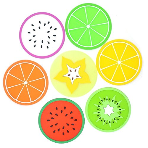 Set of 7 Colorful Fruit Slices Silicone Coasters for Drinks and Coffee, 3.5