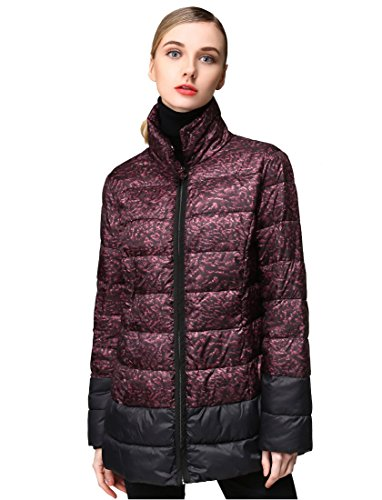 Hoffen Women's Stylish Graphic Print Casual Quilted Down Coat Jacket with Hood (40) by HOFFEN