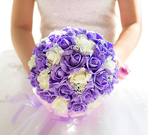 VaniaDress Wedding Bride Holding Bouquet Real Touch Flowers Valentine's Day Bouquet V001FL EE