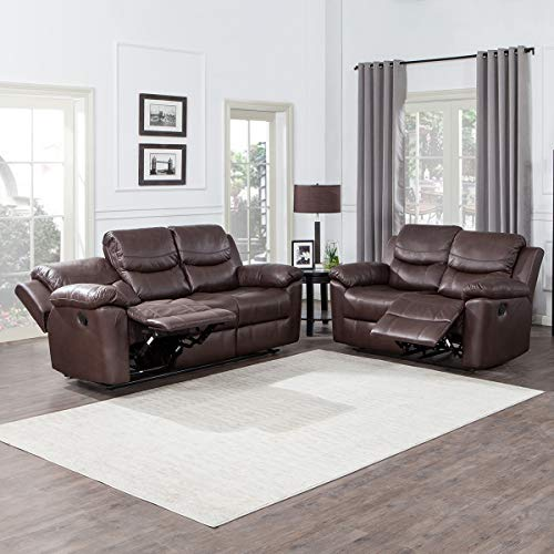 YOUTHUP Bonded Leather Recliner Set Chocolate Brown Classic Furniture Living Room Set loveseat&3-seat Sofa (Classic Leather Set Sofa)