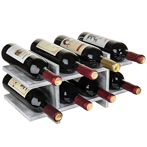 MyGift 8-Bottle Rustic Graywashed Wood Wine Storage Rack