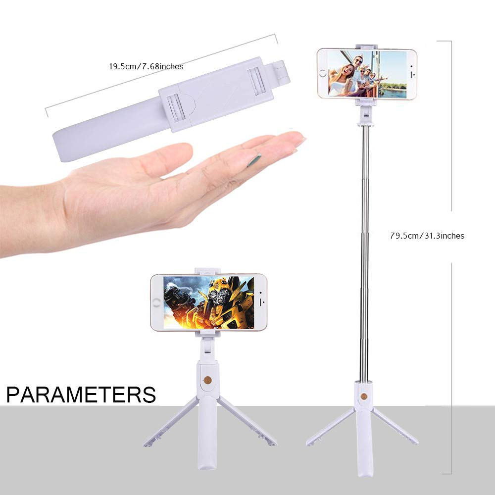 tr/ípode Bluetooth Extensible Selfie Stick con Control Remoto inal/ámbrico para iPhone X // 8 // 8P // 7 // 7P // 6s // 6 Sumsung Galaxy S9 // S8 // S7 // Note 9//8 Huawei White FAPPEN Selfie Stick
