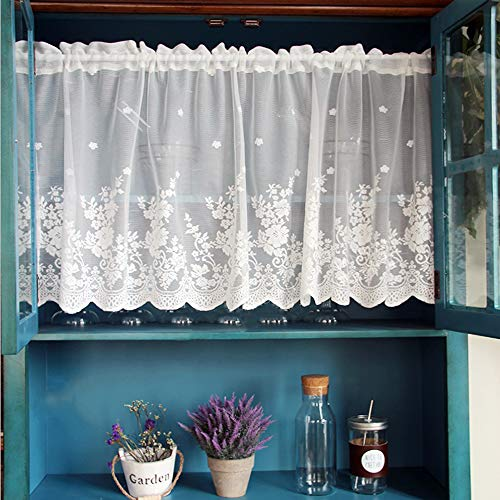 WINYY White Lace Short Curtain for Kitchen Window Jacquard Floral Sheer Curtain Valance for Small Window Rod Pocket Top Tulle 1 Piece (39 Inch Wide, 20 Inch Long) (White Lace Sheers)