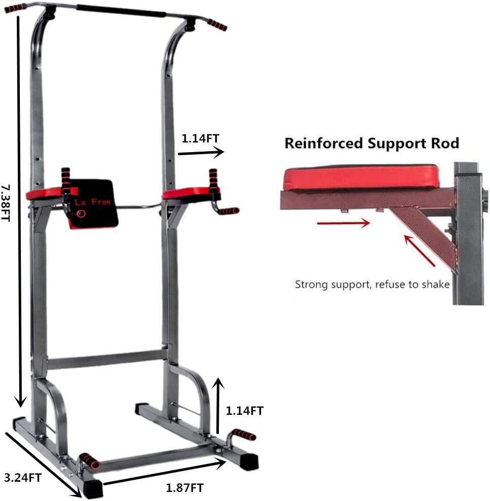 Lx Free Power Tower – Home Gym Adjustable Multi-Function Fitness Equipment Pull Up Bar Stand Workout Station