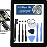 Black iPad 3 Digitizer Replacement Screen Front Touch Glass Assembly Replacement - Includes Home Button + Camera Holder + Pre-Installed Adhesive with Tools – Repair Kit by Cell Phone DIY