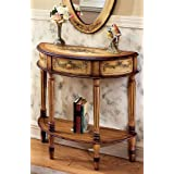 Butler Demilune Console Table, Light Hand Painted Finish