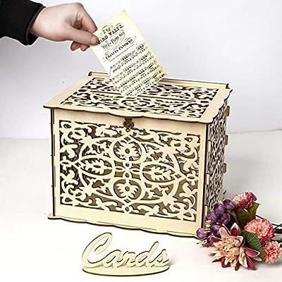 TARTIERY Caja de Tarjetas de Boda Tarjetas de Boda con Cierre Caja de Madera para colecci/ón de Cajas de Regalo para Bodas Vintage Madera Natural Caja de Regalo para recepci/ón