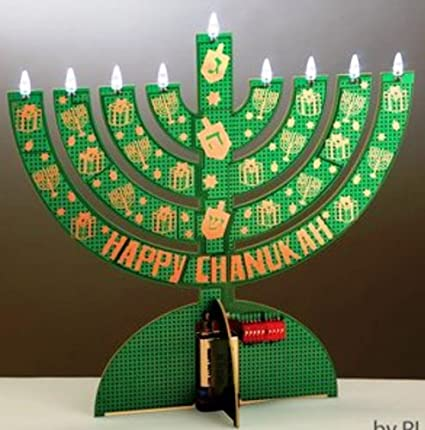 amazon com electric led menorah chanukah recycled circuit board rh amazon com Hanukkah Menorah On the Lamps in Front of the Menorah Lamp Stand