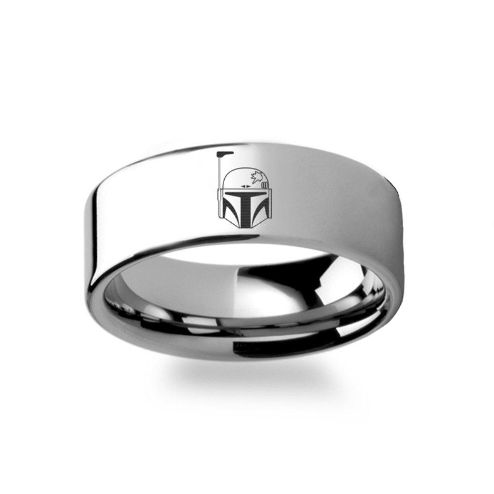 Boba Fett Helmet Symbol Star Wars Polished Flat Ring Tungsten Carbide Engraved Wedding Band Jewelry - 4mm 6mm 8mm 10mm 12mm