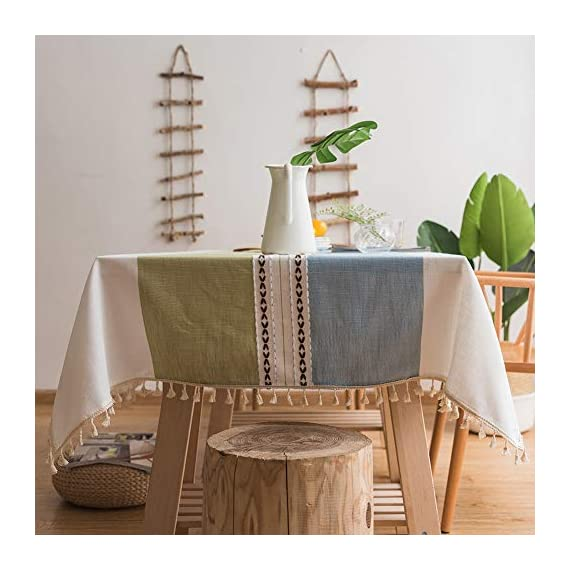 Deep Dream Tablecloths, Stitching Tassel Table Cloth Cotton Linen Wrinkle Free Anti-Fading Table Cover Decoration for Kitchen Dinning Party, 55 x 55 Inch - Blue & Green - 【NON-FADING】: Deep Dream cotton linen tablecloth is dyed with high-quality dyes, which has good dye fixation and is not easy to fade 【ANTI-WRINKLE & ANTI-SHRINK】: This table cloth is made of high quality eco-friendly heavy cotton linen, making it soft and smooth, with exquisite tassels to make your table more beautiful 【EASY TO CARE】: Our table clothes can be hand-washed or gently machine-washed, hand wash best. Tumble dry on low heat or lay flat to dry, very easy to clean, soft and comfortable, no pilling - tablecloths, kitchen-dining-room-table-linens, kitchen-dining-room - 51UdHpqFoUL. SS570  -