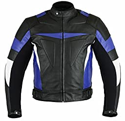 Classyak Men\'s Motorcycle Real Leather Jacket with CE Apporved Internal Protection Cow Black 5X-Large