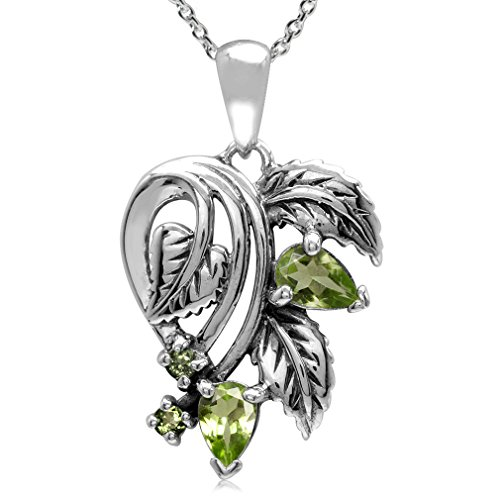Silvershake Natural Gemstone 925 Sterling Silver Leaf Vintage Style Pendant with 18 Inches Chain Necklace
