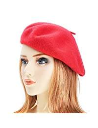 Wool Beret Hat Classic Solid Color French Beret for Women by ZLYC