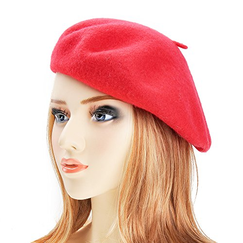 ZLYC Wool Beret Hat Classic Solid Color French Beret For Women Red