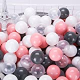 Thenese Pit Balls Crush Proof Plastic Children's Toy Balls Mule-Grey Ocean Balls Small Size 2.15 Inch Phthalate & BPA Free Pack of 100 Grey