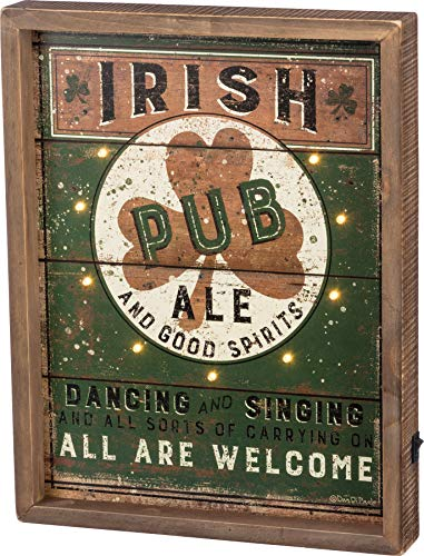 Primitives by Kathy Irish Pub LED Lighted Box Sign, Battery Powered Distressed Vintage Design - Green, Black, White, Brown,12 x 15.5 x 1.75 inches
