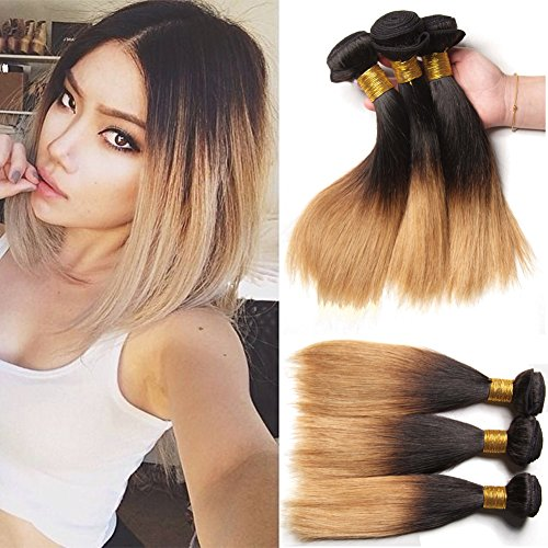 XCCOCO Hair Ombre Blonde Straight Hair Bundles Dark Roots Honey Blonde End 1b/27# 3 Bundles 300g Unprocessed Brazilain Virgin Remy Human Hair Extensions(10inchx3)