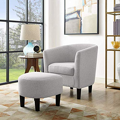 Bridge Modern Accent Chair Linen Fabric Arm Chair Upholstered Single Sofa Chair with Ottoman Foot Rest Grey